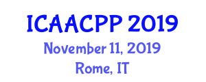 International Conference on Advanced Agricultural Chemistry and Plant Protection (ICAACPP) November 11, 2019 - Rome, Italy
