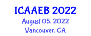 International Conference on Advanced Agricultural Engineering and Biosecurity (ICAAEB) August 05, 2022 - Vancouver, Canada