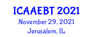 International Conference on Advanced Architectural Engineering and Building Technologies (ICAAEBT) November 29, 2021 - Jerusalem, Israel