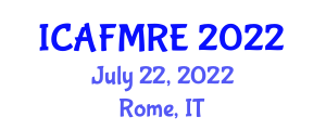 International Conference on Advanced Functional Materials for Renewable Energy (ICAFMRE) July 22, 2022 - Rome, Italy