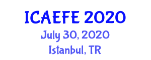 International Conference on Agricultural, Environmental and Food Engineering (ICAEFE) July 30, 2020 - Istanbul, Turkey