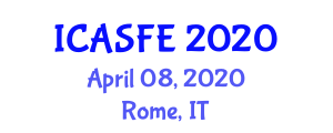 International Conference on Agricultural Science and Food Engineering (ICASFE) April 08, 2020 - Rome, Italy