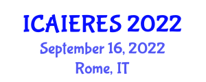 International Conference on AI for Energy and Renewable Energy Systems (ICAIERES) September 16, 2022 - Rome, Italy