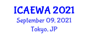 International Conference on Applied Ethology and Welfare of Animals (ICAEWA) September 09, 2021 - Tokyo, Japan