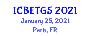 International Conference on Biomass Energy Technologies and Gasification Systems (ICBETGS) January 25, 2021 - Paris, France