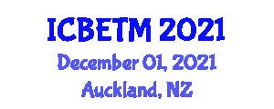International Conference on Business, Economics and Tourism Management (ICBETM) December 01, 2021 - Auckland, New Zealand