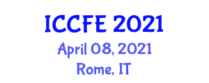 International Conference on Chemical and Food Engineering (ICCFE) April 08, 2021 - Rome, Italy