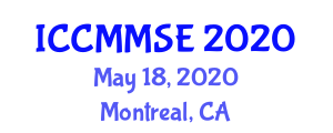 International Conference on Chemical Metallurgy, Metal Solutions and Electrochemistry (ICCMMSE) May 18, 2020 - Montreal, Canada