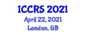 International Conference on Cognitive Robotics Systems (ICCRS) April 22, 2021 - London, United Kingdom