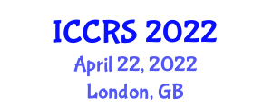 International Conference on Cognitive Robotics Systems (ICCRS) April 22, 2022 - London, United Kingdom