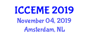 International Conference on Computer, Electronics and Mechatronics Engineering (ICCEME) November 04, 2019 - Amsterdam, Netherlands