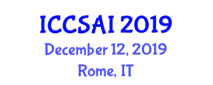 International Conference on Computer Science and Artificial Intelligence (ICCSAI) December 12, 2019 - Rome, Italy