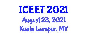 International Conference on Computing, Electronics and Electrical Technology (ICEET) August 23, 2021 - Kuala Lumpur, Malaysia