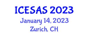 International Conference on Earth Science and Applied to Seismology (ICESAS) January 14, 2023 - Zurich, Switzerland