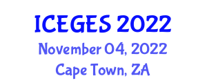 International Conference on Ecological Geology and Earth Science (ICEGES) November 04, 2022 - Cape Town, South Africa