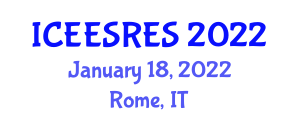 International Conference on Electrochemical Energy Storage for Renewable Energy Sources (ICEESRES) January 18, 2022 - Rome, Italy