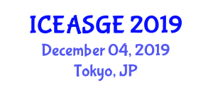 International Conference on Energy Applications and Smart Grid Engineering (ICEASGE) December 04, 2019 - Tokyo, Japan