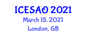 International Conference on Energy Systems Analysis and Optimization (ICESAO) March 15, 2021 - London, United Kingdom