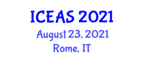 International Conference on Ethology and Animal Science (ICEAS) August 23, 2021 - Rome, Italy