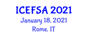 International Conference on Experimental Food Science and Applications (ICEFSA) January 18, 2021 - Rome, Italy