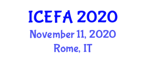 International Conference on Experimental Foods and Applications (ICEFA) November 11, 2020 - Rome, Italy