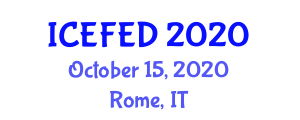 International Conference on Experimental Foods and Experimental Design (ICEFED) October 15, 2020 - Rome, Italy