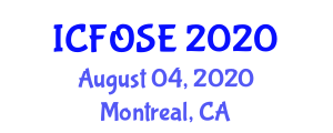 International Conference on Fiber Optic Sensors and Electronics (ICFOSE) August 04, 2020 - Montreal, Canada