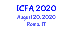 International Conference on Food Allergy (ICFA) August 20, 2020 - Rome, Italy