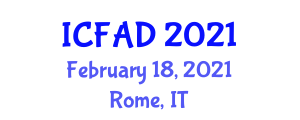 International Conference on Food Analysis and Diagnostics (ICFAD) February 18, 2021 - Rome, Italy