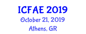 International Conference on Food and Agricultural Engineering (ICFAE) October 21, 2019 - Athens, Greece