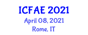 International Conference on Food and Agricultural Engineering (ICFAE) April 08, 2021 - Rome, Italy