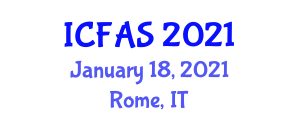 International Conference on Food and Agricultural Sciences (ICFAS) January 18, 2021 - Rome, Italy