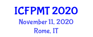 International Conference on Food Preservation Methods and Technology (ICFPMT) November 11, 2020 - Rome, Italy