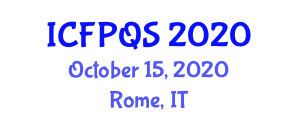 International Conference on Food Property, Quality and Safety (ICFPQS) October 15, 2020 - Rome, Italy