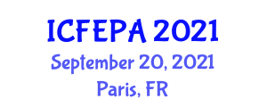 International Conference on Freshwater Ecology, Plants and Animals (ICFEPA) September 20, 2021 - Paris, France