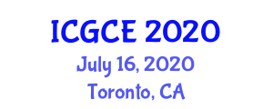 International Conference on Geography and Cartographic Engineering (ICGCE) July 16, 2020 - Toronto, Canada