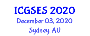 International Conference on Geography, Society and Environmental Systems (ICGSES) December 03, 2020 - Sydney, Australia