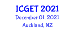 International Conference on Geomatic Engineering and Technology (ICGET) December 01, 2021 - Auckland, New Zealand