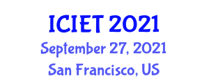 International Conference on Image Encryption Techniques (ICIET) September 27, 2021 - San Francisco, United States