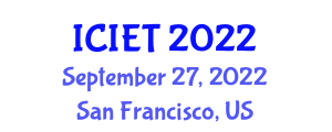 International Conference on Image Encryption Techniques (ICIET) September 27, 2022 - San Francisco, United States