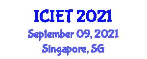 International Conference on Image Encryption Technologies (ICIET) September 09, 2021 - Singapore, Singapore