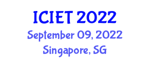 International Conference on Image Encryption Technologies (ICIET) September 09, 2022 - Singapore, Singapore