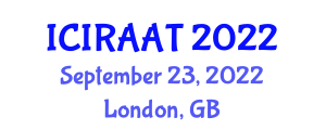 International Conference on Industrial Robotics and Advanced Automation Technologies (ICIRAAT) September 23, 2022 - London, United Kingdom