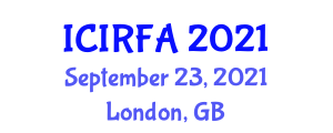 International Conference on Industrial Robotics and Flexible Assembly (ICIRFA) September 23, 2021 - London, United Kingdom
