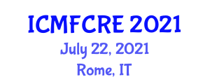 International Conference on Microbial Fuel Cells and Renewable Energy (ICMFCRE) July 22, 2021 - Rome, Italy