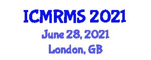 International Conference on Mobile Robotics, Modeling and Simulation (ICMRMS) June 28, 2021 - London, United Kingdom