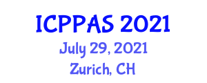 International Conference on Parasitology, Pharmacology and Animal Science (ICPPAS) July 29, 2021 - Zurich, Switzerland