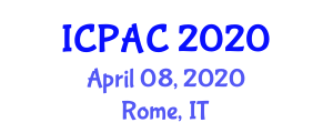International Conference on Pharmacochemistry and Analytic Chemistry (ICPAC) April 08, 2020 - Rome, Italy