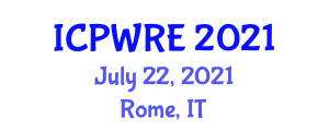 International Conference on Power, Wind and Renewable Energy (ICPWRE) July 22, 2021 - Rome, Italy