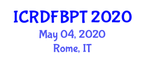 International Conference on Recent Developments in Food and Beverage Packaging Technologies (ICRDFBPT) May 04, 2020 - Rome, Italy